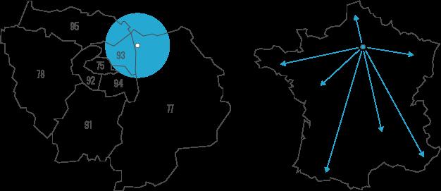 Carte de notre zone d'intervention en IDF
